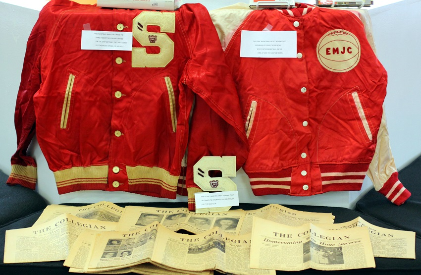 "Items donated to East Mississippi Community College's archives by alumni Jim and Virginia Taylor include the couple's lettered sports jackets and issues of the college's newspaper, the ""Collegian,"" that date from 1946 to 1948."
