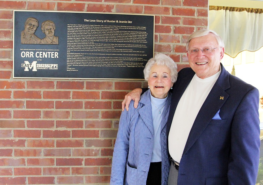 A plaque installed outside the Orr Center for Christian Activity tells the story of how Jeanie Orr, at left, and Buster Orr, at right met at then East Mississippi Junior College in 1955. The two later married.