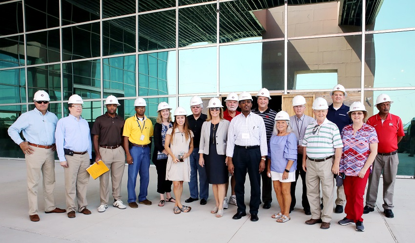 On July 13, officials from the Mississippi House and Senate, the Mississippi Department of Finance and Administration, and the Bureau of Building, Grounds and Real Property Management toured our Center for Manufacturing Technology Excellence 2.0, which is under construction at the entrance to the Golden Triangle Regional Global Industrial Aerospace Park in Lowndes County.