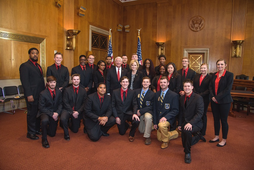 While competing in the 2018 Collegiate DECA International Career Development Conference in Arlington, Va., members of East Mississippi Community College's Scooba and Golden Triangle DECA chapters met with U.S. Sens. Rocker Wicker and Cindy Hyde-Smith, at center. The students, accompanied by EMCC Marketing instructor Dr. Joshua Carroll, also met with Mississippi's four U.S. representatives while in Washington, D.C.