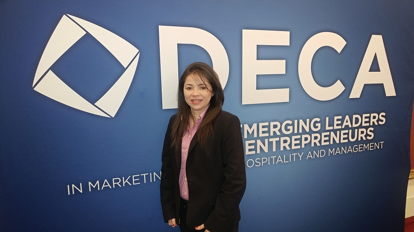 Gissela Perdomo's business proposal for a start-up company that would employ destitute residents in her native city of San Pedro Sula, Honduras earned her and fellow classmates at EMCC first place in the Entrepreneurship category of the state DECA championships on Feb. 1.