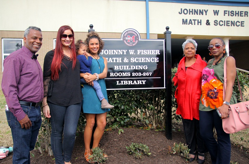 The Johnny W. Fisher Math and Science Building at East Mississippi Community College's Golden Triangle campus was officially dedicated Monday, Feb. 19, during a ceremony attended by family, friends and co-workers of the building's namesake.