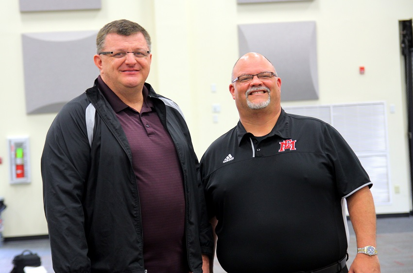 Ron Gann, at left, and Chris King, at right, used to play on the same college band nearly 30 years ago. King, who is the director of bands for East Mississippi Community College, recently hired Gann to fill the assistant director of bands position.