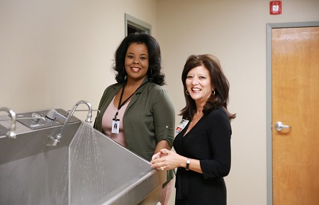 East Mississippi Community College Surgical Technology Program Director Janan Rush, at left, and Baptist Memorial Hospital- Golden Triangle Chief Nursing Officer Mary Ellen Sumrall inside a building owned by Baptist that will house the college's new program to train surgical technologists.