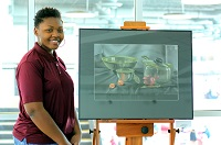When East Mississippi Community College art major Audrea Powell's mother passed away in November, she immersed herself in artwork as a means to take her mind off of her loss.