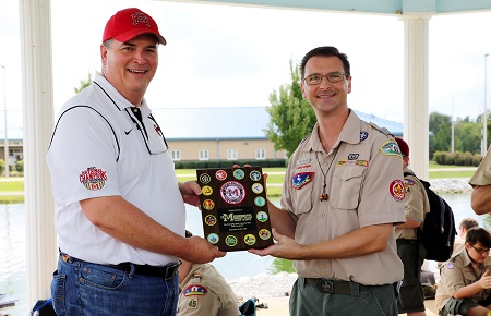 Boy Scouts of America Pushmataha Area Council Scout Executive Jeremy Whitmore, at right, presents EMCC Vice President of the Golden Triangle Campus Dr. Paul Miller with a plaque of appreciation Saturday, September 22, 2018. EMCC hosted the Pushmataha Area Council Fall Camporee.