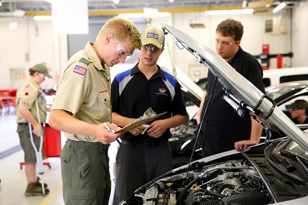 Boy Scouts of America member James Belk, 16, of Eupora takes part in an automotive maintenance merit badge session Saturday, September 22, 2018 at East Mississippi Community College during the Pushmataha Area Council Fall Camporee.