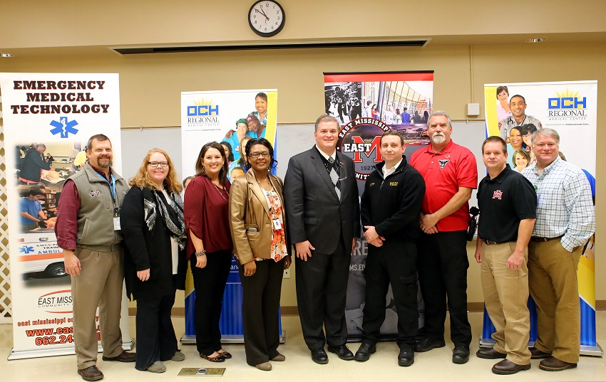 Officials from Oktibbeha County and East Mississippi Community College gathered at OCH Regional Medical Center Nov. 28, to mark a collaboration that will provide members of the Oktibbeha County Fire Department an opportunity to earn their emergency medical technician (EMT) certification without leaving the county.