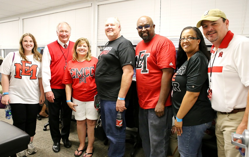 From left, Christine Latch, former East Mississippi Community College Interim President Dr. Rick Young, Jaye Latch, Randall Latch, George Shankle, Jr., Tracie Shankle, and EMCC Executive Director of College Advancement Marcus Wood in the skybox during the college's football game against Hinds Community College. The Latch and Shankle families are both from Longview, Texas and attended EMCC's season opening football game against Hinds Community College.