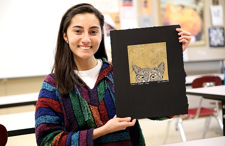 "Ana Sofia Licona Luque, a freshman at East Mississippi Community College, took first place in the Printmaking category in a state competition with her piece titled ""Who's There?"""