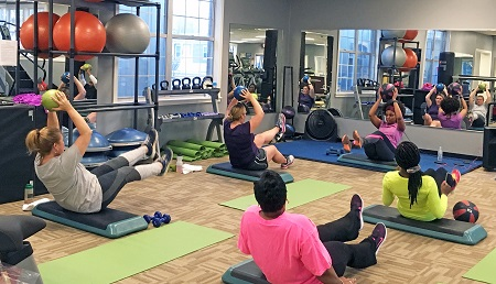 Workout routines, such as this ab class, are popular at East Mississippi Community College's Wellness Center on the Scooba campus, which has expanded its offerings to the community through programs funded through grants by Blue Cross & Blue Shield of Mississippi Foundation.