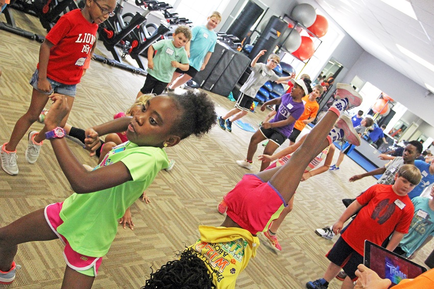 "Children take part in the ""Little Lions Making Strides"" summer day camp activities in East Mississippi Community College's Wellness Center, which received a third grant from the Blue Cross & Blue Shield of Mississippi Foundation for health and wellness activities."