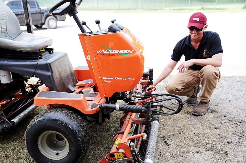 East Mississippi Community College head greens keeper Derek Havard works on a reel mower at the college's Lion Hills Center where Small Engine Equipment Repair Technology will be taught. Small Engine Equipment Repair is among four new programs that will be offered this fall by EMCC's Office of Career and Technical Education.