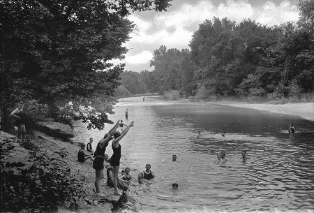 "Miller's Swimming Hole, located in Ginger Hole, Mo., is depicted in this 1902 photograph that is part of the ""Crossroads: Change in Rural America"" exhibition. Photo courtesy of the Wisconsin Historical Society"