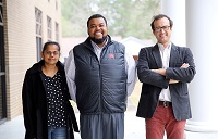 """From left, Mississippi State University associate professor Dr. Bindu Nanduri, East Mississippi Community College instructor Jairus Johnson, and MSU assistant professor Dr. Jonas King are collaborating on the """"Bridges to Baccalaureate"""" program, which will provide paid summer research internships to select EMCC students transferring to MSU."""