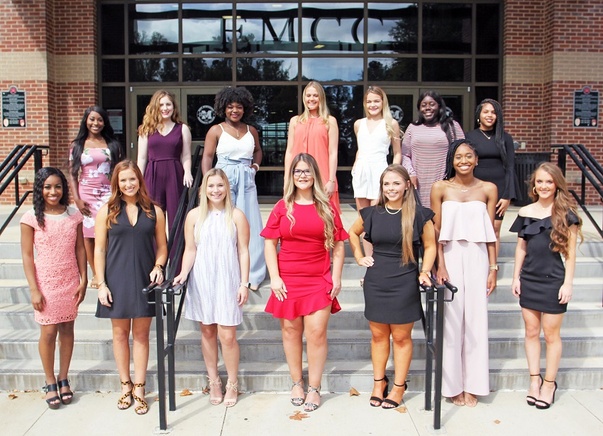 Members of EMCC's 2019 Homecoming Court are, from left: (First row) India Jones of Laurel, Rylee Bowman of Ackerman, Bree Gammill of Carrollton, Aubrey Riley of Columbus, Lauren Walker of Collinsville, Derriyana Mays of Starkville and Amberly Harden of West Point. In the back row, from left, are Carla Keaton of Columbus, Marlee Hemphill of Caledonia, Nykirra Taylor of Pascagoula, McKinsey Wedel of West Point, Kelsey Tubby of Philadelphia, JayQuandra Ash of Shuqualak and Trinity Davis of DeKalb.