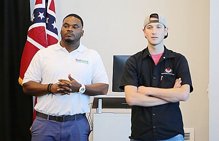 EMCC MIBEST Student Navigator Jeremy Tate, at left, was the host for a MIBEST information session Oct. 22 at East Mississippi Community College's Communiversity. Jake Halverson, at right, is enrolled in the MIBEST program, which offers students a myriad of services intended to help them succeed in the workforce.