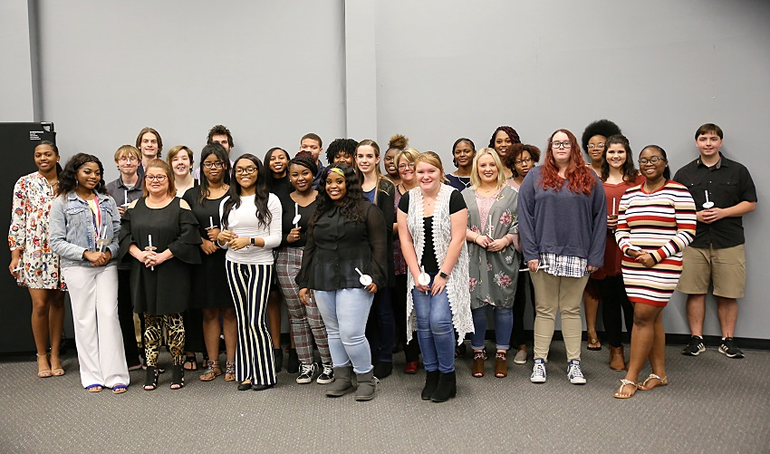 Twenty-seven East Mississippi Community College and Golden Triangle Early College High School students were inducted into the Beta Iota Zeta Chapter of the Phi Theta Kappa Honor Society on East Mississippi Community College's Golden Triangle campus in an Oct. 24 ceremony.