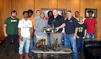 An award winning metal sculpture by an East Mississippi Community College student that depicts one of Taylor Machine Works most prominent machines will soon be donated and on display in the front lobby of Taylor Logistics.