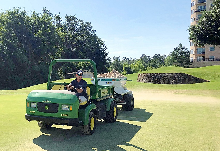 East Mississippi Community College Golf and Recreational Turf Management Technology program graduate Trey Sansing began work at The Cascades Golf & Country Club in Tyler, Texas before he was awarded his degree.