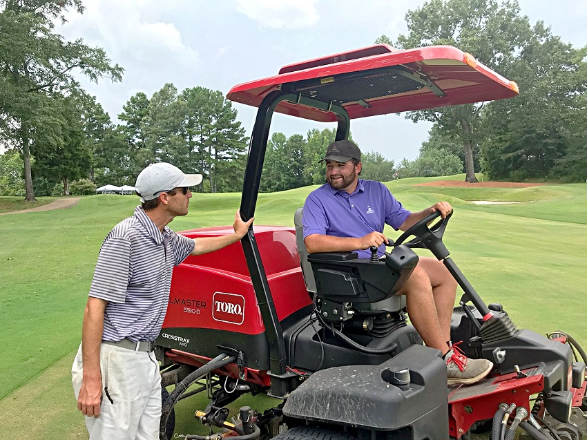 Old Waverly Golf Club Assistant Golf Superintendent Zak Holloway, at left, and golf course laborer Gill Wilkerson have been busy preparing the golf course for the United States Golf Association's 2019 U.S. Women's Amateur Championship. Wilkerson is among seven former, current and future students of East Mississippi Community College's Golf & Recreational Turf Management students who will be working during the event.