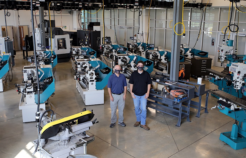 Students enrolled in the Precision Manufacturing & Machining program at The Communiversity are taught on the latest industrial equipment in use today. Instructors Ronnie Guy, at left, and James Pugh are pictured here in the program's lab.
