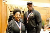 East Mississippi Community College sophomores Brianna Tate, at left, and Herman Peters, both of Columbus, each earned first and second place finishes at the Mississippi Collegiate DECA 2020 Career Development Conference.