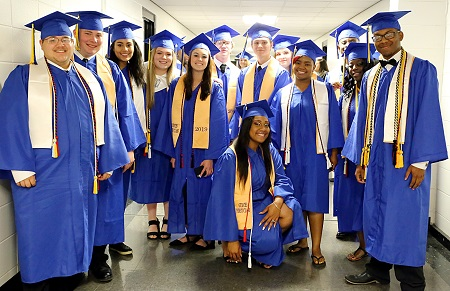Golden Triangle Early College High School students celebrate in this file photo from last year's graduation ceremony. GTECHS will host a May 16 drive-through graduation this year at the Communiversity, while East Mississippi Community College will conduct a virtual graduation May 20.