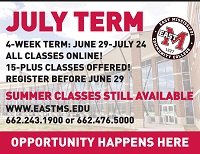 For the first time, East Mississippi Community College's eLearning Department will offer four-week online classes during the July term.
