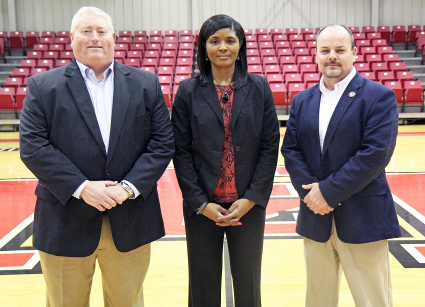 From left, East Mississippi Community College employees Tony Montgomery, Sharon Thompson and Marcus Wood are assuming new administrative duties at the college.