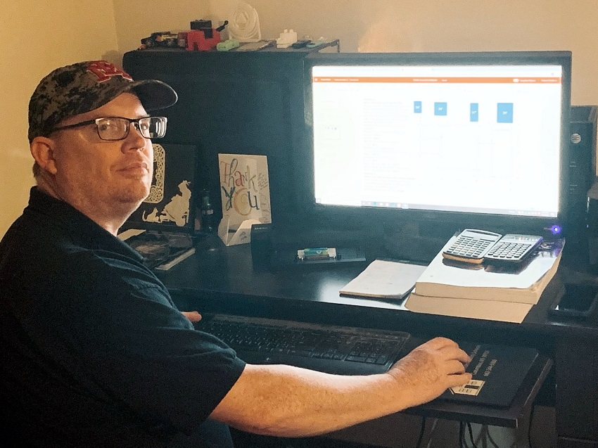 East Mississippi Community College Engineering Technology Drafting & Design instructor Carlton Hollis prepares an online assignment for one of his classes. EMCC has transitioned all classes to online instruction in response to the coronavirus.