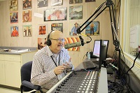 "Don Rodney ""Radio"" Vaughan, a speech, theater and journalism instructor at East Mississippi Community College broadcasts a segment over the college's radio station, WGTC 92.7 FM in this EMCC file photo. Vaughan is also the manager of the radio station."