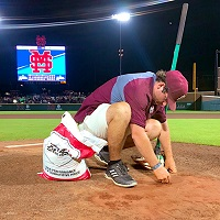 East Mississippi Community College Golf and Recreational Turf Management student Payton Smith patches the baseball mound on Mississippi State University's Dudy Noble Field. Smith, who graduates from EMCC in December, works on MSU's ground crew and has landed a paid internship working on the football field at the Kansas City Chief's summer training camp.