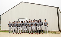 Members of the East Mississippi Community College baseball team outside the building that will house the players' lockers, a dressing room and meeting area. A fundraiser has begun to equip the building's interior.
