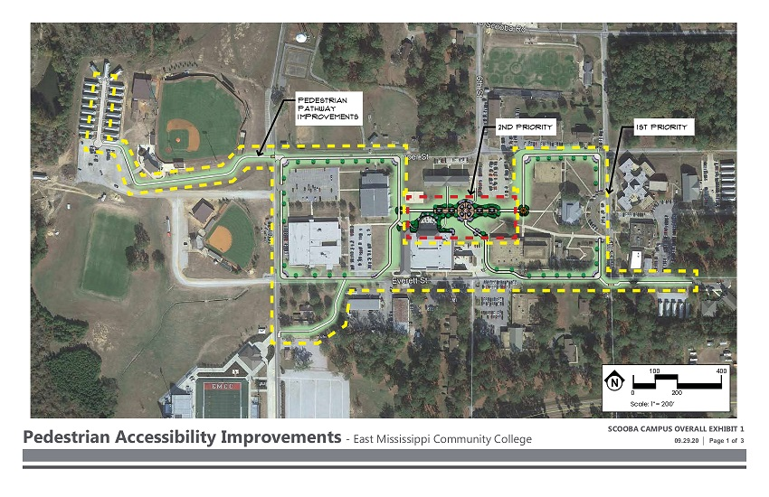 Areas highlighted in green in this conceptual drawing depict new walking paths and a courtyard that will be constructed on East Mississippi Community College's Scooba campus with federal funds awarded to the college.
